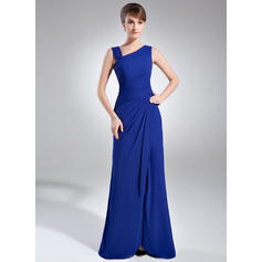 Sheath/Column Chiffon Sleeveless V-neck Floor-Length Zipper Up Mother of the Bride Dresses (008211238)