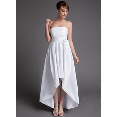 Strapless A-Line/Princess Wedding Dresses Taffeta Ruffle Flower(s) Sleeveless Asymmetrical