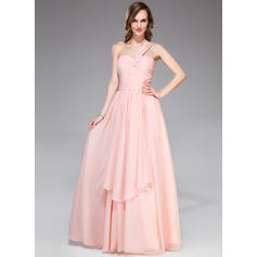 A-Line/Princess Chiffon Prom Dresses Ruffle One-Shoulder Sleeveless Floor-Length (018047254)
