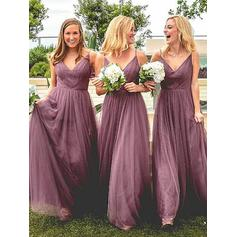 A-Line/Princess V-neck Floor-Length Tulle Bridesmaid Dresses With Ruffle