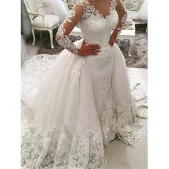Ball-Gown Tulle Long Sleeves V-neck Cathedral Train Wedding Dresses