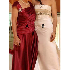 A-Line/Princess Taffeta Sleeveless Square Neckline Floor-Length Zipper Up Mother of the Bride Dresses