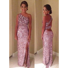 Sheath/Column Sequined Prom Dresses Split Front One-Shoulder Sleeveless Floor-Length