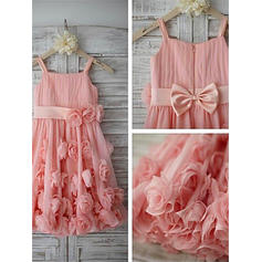 A-Line/Princess Straps Tea-length With Flower(s)/Bow(s) Chiffon/Tulle Flower Girl Dresses (010211878)