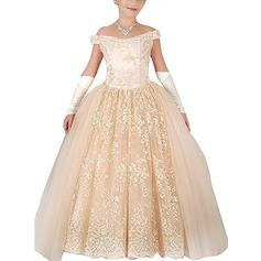Ball Gown Off-the-Shoulder Floor-length With Appliques Tulle Flower Girl Dresses