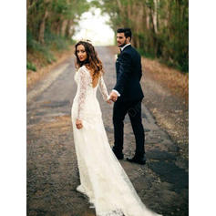 Sheath/Column Tulle Lace Long Sleeves V-neck Chapel Train Wedding Dresses (002144926)