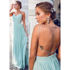 A-Line/Princess V-neck Floor-Length Prom Dresses With Ruffle (018210999)