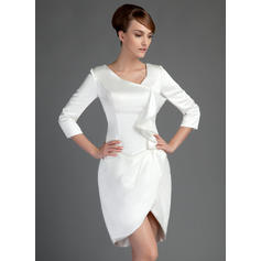 Sheath/Column Charmeuse 3/4 Sleeves Short/Mini Zipper Up Mother of the Bride Dresses (008211409)