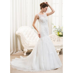 Fashion Scoop Trumpet/Mermaid Wedding Dresses Court Train Tulle Lace Sleeveless (002210568)