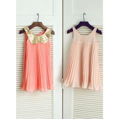 Empire Peter Pan Collar Knee-length With Ruffles Chiffon/Sequined Flower Girl Dresses (010211594)