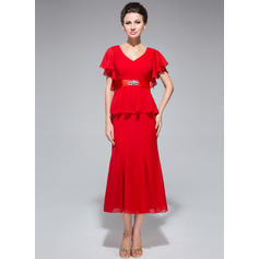 Trumpet/Mermaid Chiffon Short Sleeves V-neck Tea-Length Zipper Up Mother of the Bride Dresses