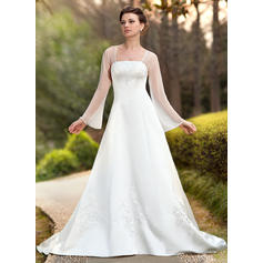 Sexy Square A-Line/Princess Wedding Dresses Chapel Train Chiffon Satin Long Sleeves (002211299)