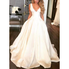 V-neck Ball-Gown Wedding Dresses Satin Sleeveless Sweep Train (002213572)