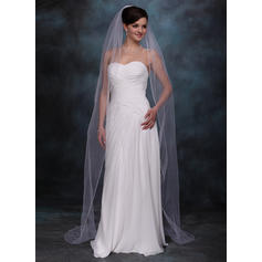 Chapel Bridal Veils Tulle One-tier Oval/Drop Veil With Pencil Edge Wedding Veils