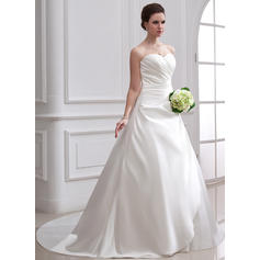 Ball-Gown Sweetheart Chapel Train Wedding Dresses With Ruffle