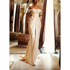 Sheath/Column Satin Sleeveless Off-The-Shoulder Sweep Train Wedding Dresses