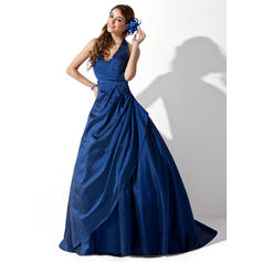 Ball-Gown Halter Sweep Train Prom Dresses With Ruffle Beading (018211176)