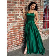 A-Line/Princess Square Neckline Sweep Train Evening Dresses With Ruffle Split Front