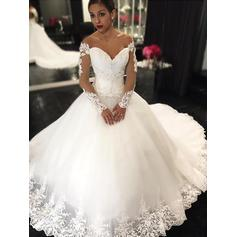 Stunning Off-The-Shoulder Ball-Gown Wedding Dresses Court Train Tulle Long Sleeves