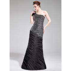 Trumpet/Mermaid One-Shoulder Floor-Length Evening Dresses With Ruffle Flower(s) (017019444)