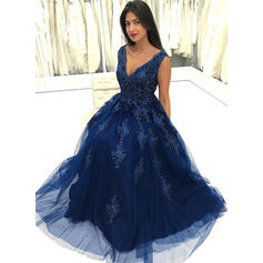 A-Line/Princess V-neck Floor-Length Prom Dresses With Beading Appliques Lace