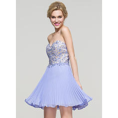 A-Line/Princess Sweetheart Short/Mini Homecoming Dresses With Beading Sequins Pleated
