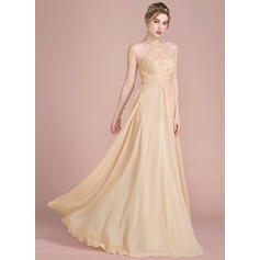 A-Line/Princess Scoop Neck Floor-Length Chiffon Lace Bridesmaid Dress With Beading Sequins (007104731)