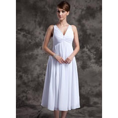 A-Line/Princess V-neck Tea-Length Chiffon Bridesmaid Dress With Ruffle Beading