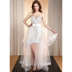 A-Line/Princess Sweetheart Asymmetrical Prom Dresses With Beading (018025678)