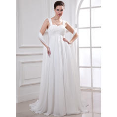 Empire Sweetheart Court Train Wedding Dresses With Lace Beading (002213227)