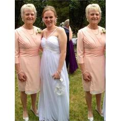 A-Line/Princess Chiffon 3/4 Sleeves Scoop Neck Knee-Length Zipper Up Mother of the Bride Dresses (008212786)