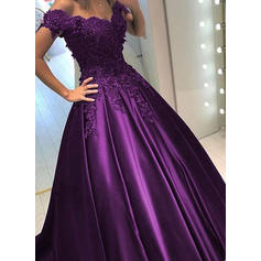 Ball-Gown Off-the-Shoulder Sweep Train Evening Dresses With Beading Sequins (017146206)