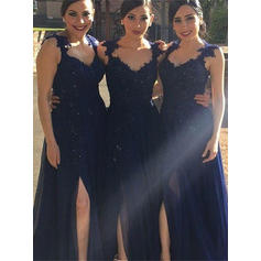 A-Line/Princess Sweetheart Floor-Length Bridesmaid Dresses With Split Front (007145130)