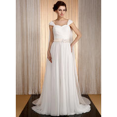 A-Line/Princess Sweetheart Watteau Train Wedding Dresses With Sash Beading Appliques Lace (002210505)