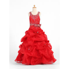 Newest Scoop Neck Ball Gown Flower Girl Dresses Floor-length Organza/Charmeuse Sleeveless