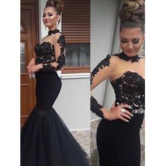 Trumpet/Mermaid High Neck Floor-Length Prom Dresses With Appliques Lace