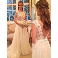 Gorgeous Scoop A-Line/Princess Wedding Dresses Sweep Train Chiffon
