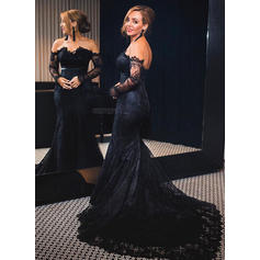 Trumpet/Mermaid Off-the-Shoulder Court Train Evening Dresses (017210085)