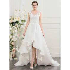 A-Line/Princess Sweetheart Asymmetrical Wedding Dresses With Beading Sequins (002095841)