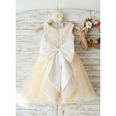 A-Line/Princess Knee-length Flower Girl Dress - Tulle/Lace Sleeveless Scoop Neck With Appliques/Bow(s)