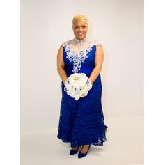 A-Line/Princess High Neck Sweep Train Mother of the Bride Dresses With Beading Appliques (008212779)