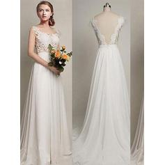 Fashion Scoop A-Line/Princess Wedding Dresses Sweep Train Chiffon (002210844)