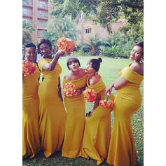 Trumpet/Mermaid Off-the-Shoulder Floor-Length Bridesmaid Dresses With Ruffle (007211564)
