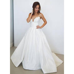 Newest V-neck Ball-Gown Wedding Dresses Sweep Train Taffeta Sleeveless