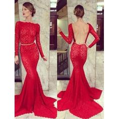 Sexy Lace Prom Dresses Trumpet/Mermaid Sweep Train Scoop Neck Long Sleeves