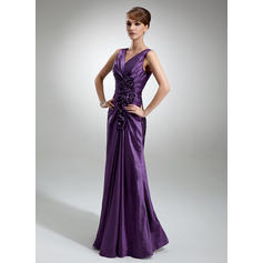 Sheath/Column Taffeta Sleeveless V-neck Floor-Length Zipper Up Mother of the Bride Dresses (008006196)