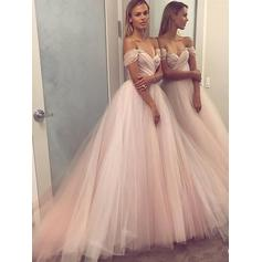 A-Line/Princess Off-the-Shoulder Floor-Length Tulle Evening Dresses With Beading Sequins