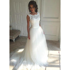 A-Line/Princess Tulle Sleeveless Square Court Train Wedding Dresses