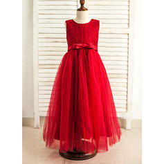 A-Line/Princess Scoop Neck Floor-length With Bow(s) Satin/Tulle Flower Girl Dresses