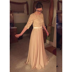 A-Line/Princess Chiffon 1/2 Sleeves Scoop Neck Sweep Train Zipper Up Mother of the Bride Dresses